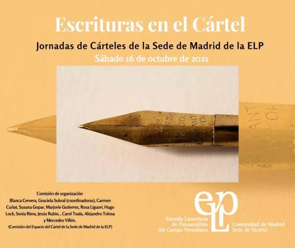 """""""Escrituras en el Cártel"""" – Jornadas de Cárteles de la Sede de Madrid de la ELP"""
